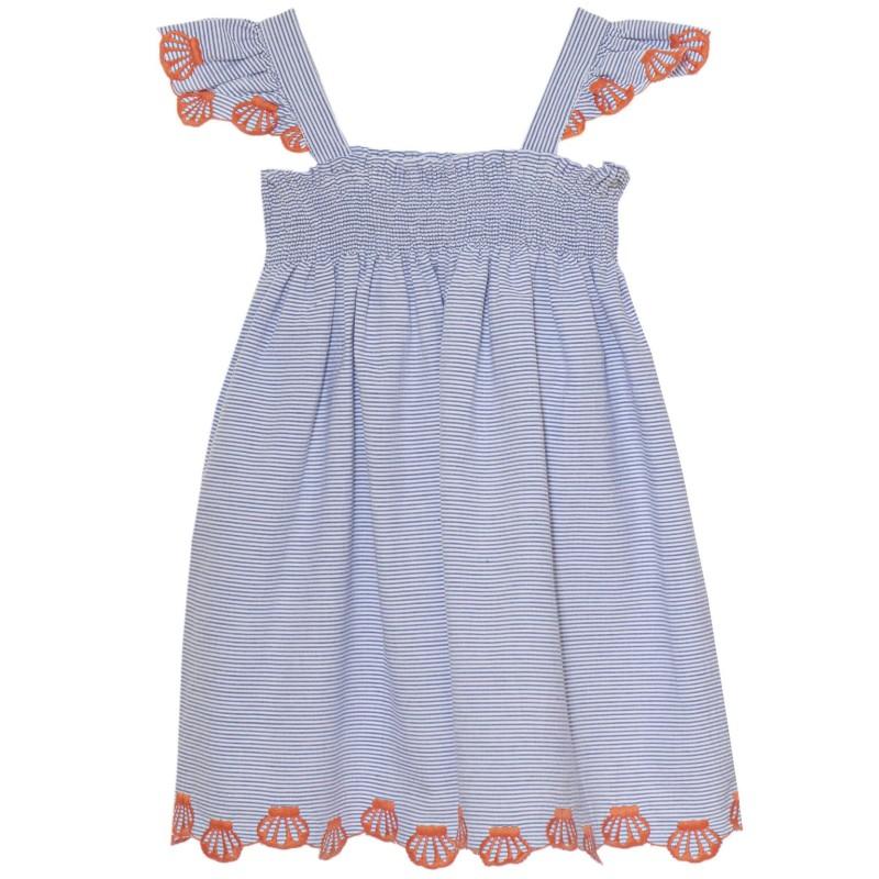 Φόρεμα βαμβακερό ριγέ σιέλ λευκό με τιράντες δαντέλα πορτοκάλι κορίτσι Patachou