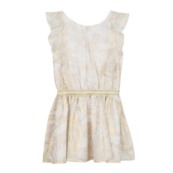 Φόρεμα μπεζ χρυσό με κοντό μανίκι  κορίτσι 3Pommes