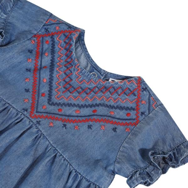 Φόρεμα τζιν βαμβακερό πολύ μαλακό με κέντημα κορίτσι κοντό μανίκι 3pommes