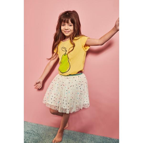 Φούστα τούλινη λευκή με πουά ροζ κίτρινα μπλε κορίτσι minoti
