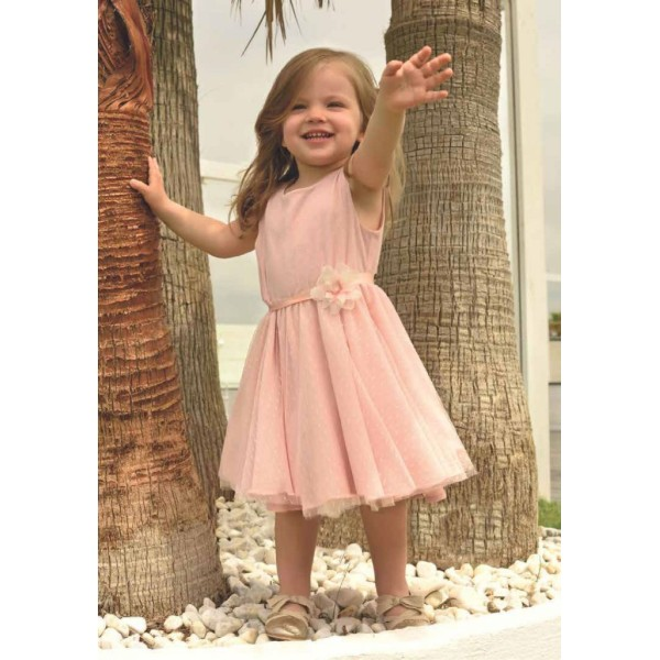 Φόρεμα τούλι δαντέλα με ζώνη ροζ απαλό κορίτσι sarah chole
