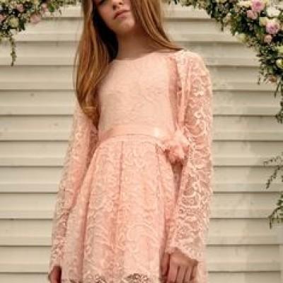 Φόρεμα δαντέλα ροζ σομον αμάνικο κορίτσι sarah chole