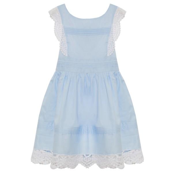 Φόρεμα σιέλ υφασματινο με κέντημα δαντέλα τιραντε patachou