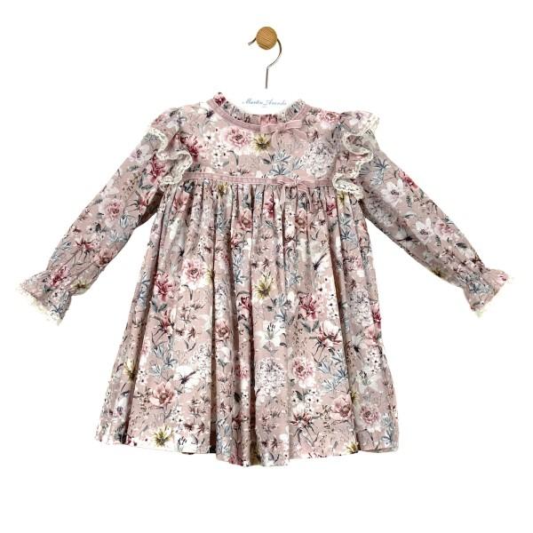 Φόρεμα υφασμάτινο σιέλ ροζ με μακρύ μανίκι 100% βαμβακερο κορίτσι Martin Aranda