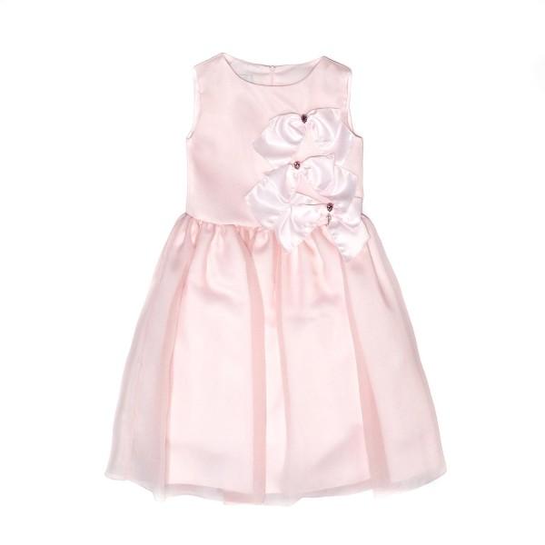 Φόρεμα μεταξωτό ροζ με φερμουάρ φιόγκο κορίτσι petit