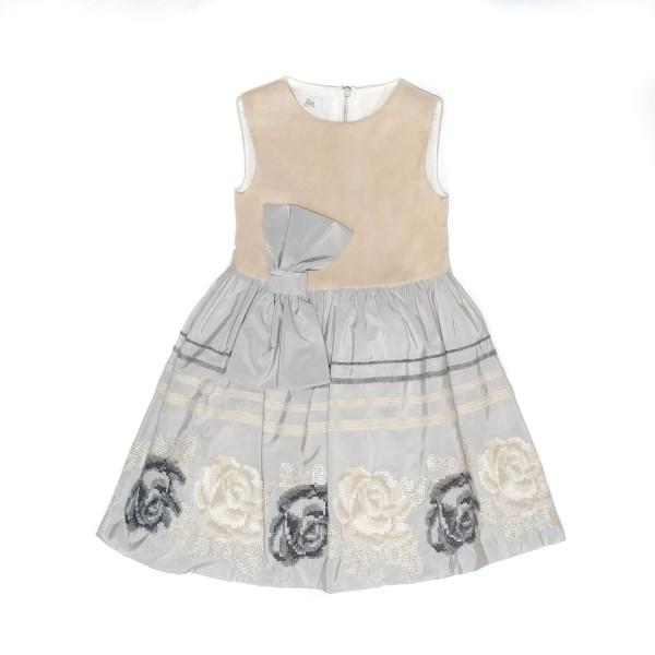 Φόρεμα για κοριτσάκι καφέ Petit