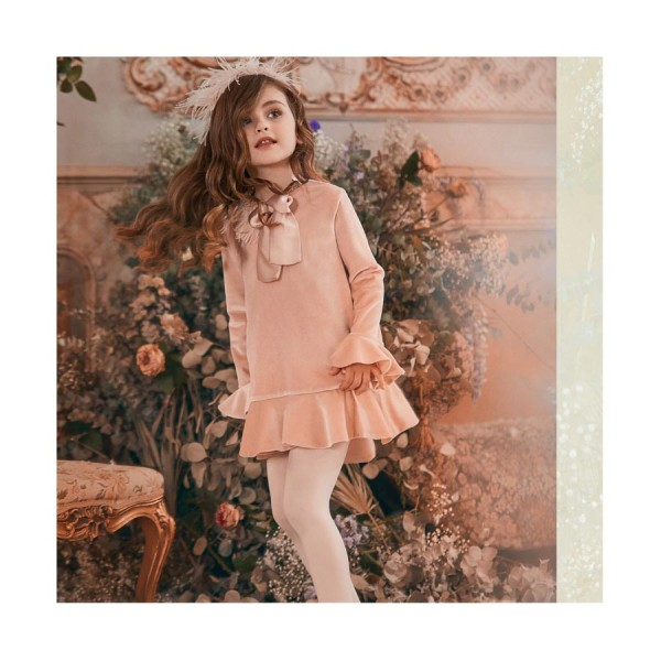 Φόρεμα βελουτέ ροζ σομον μακρύ μανίκι με κόσμημα κορίτσι petit