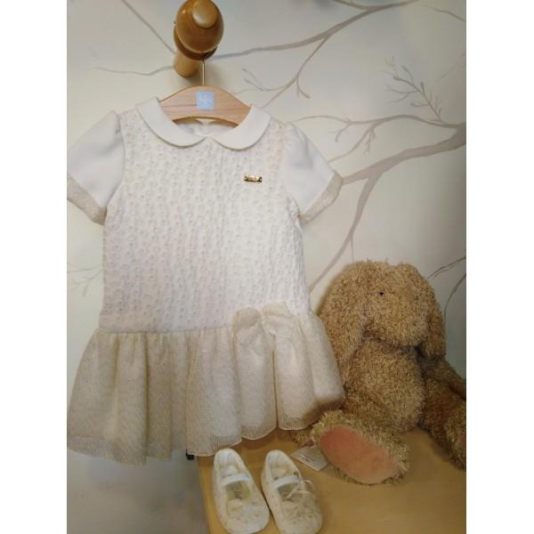 Φόρεμα για κοριτσάκι κρεμ Petit
