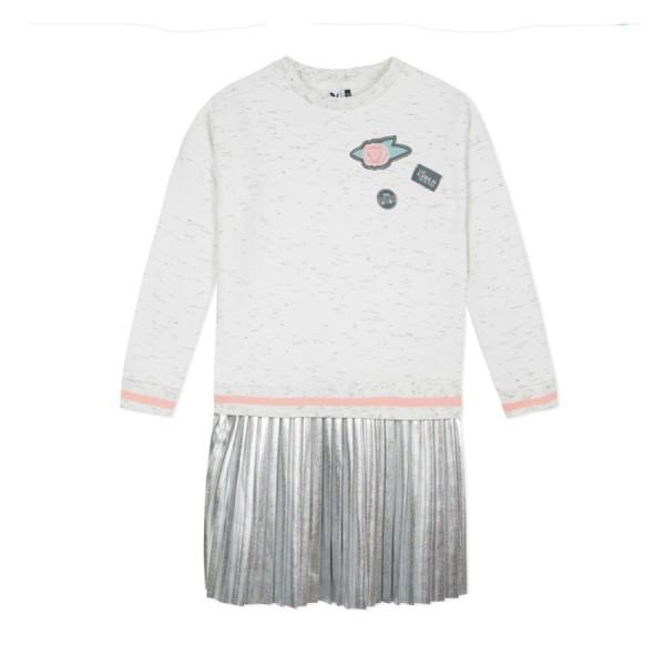 Φόρεμα φούτερ με πλισέ ασημή γυαλιστερό  λευκό γρι μακρύ μανίκι 3pommes