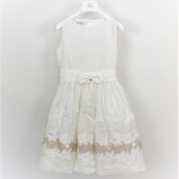 Φόρεμα λευκό με κέντημα στο τελείωμα αμάνικο εξαιρετικό με φερμουάρ  και φιόγκο κορίτσι petit