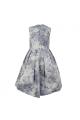 Φόρεμα φλοραλ μοβ λευκό μπλε με ουρά φερμουάρ και πιεντες αμάνικο κορίτσι petit