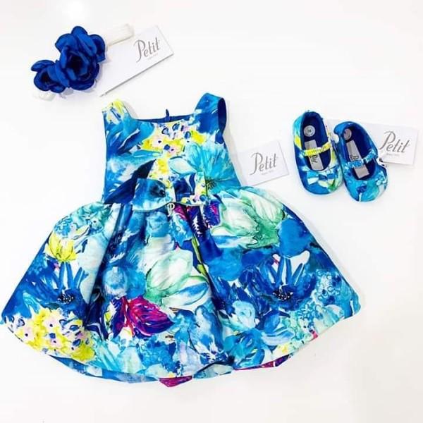 Φόρεμα  μπλε κριτίνο με λουλούδια φλοραλ petit