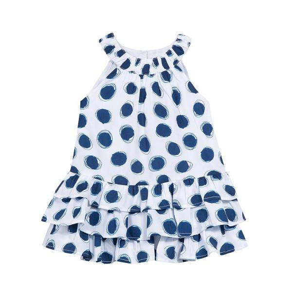 Φόρεμα κοριτσιού λευκό με κύκλους μπλε κοντομάνικο 3Pommes