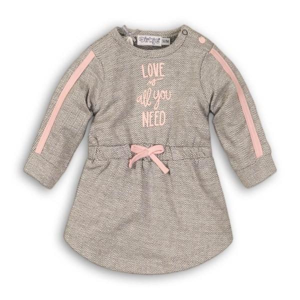Φόρεμα γρι ροζ με γράμματα μακρύ μανίκι κορίτσι dirkje