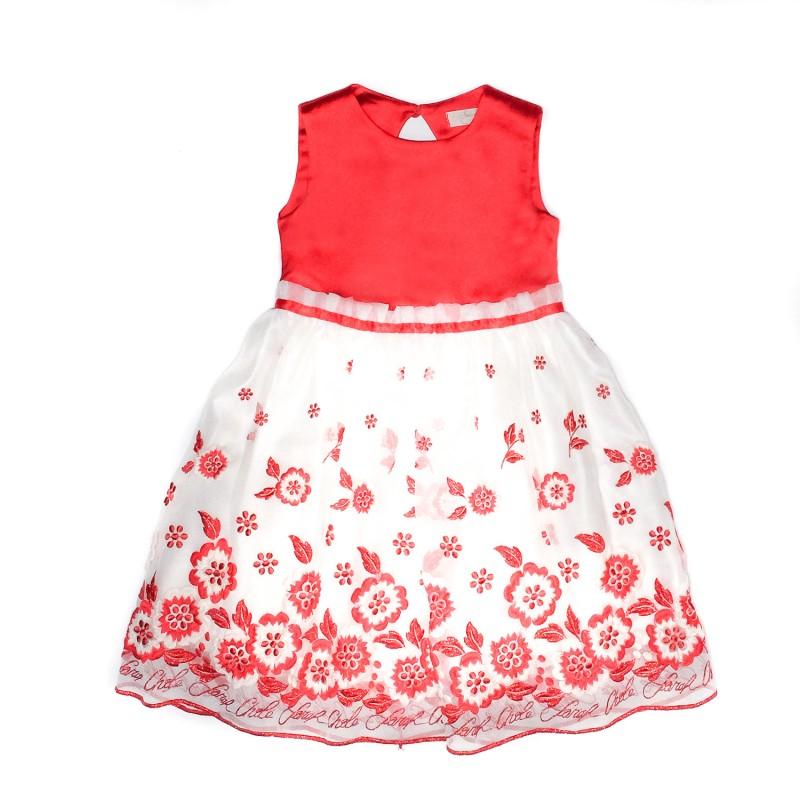 Φόρεμα μεταξωτό κόκκινο λευκό με κέντημα κορίτσι sarah chole