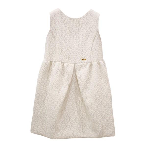 Φόρεμα μπεζ εκ ρου χρυσό με ζώνη petit
