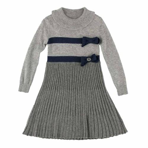 Φόρεμα κοριτσιού γκρί με γκοφρέ φούστα και μπλέ φιογκάκια στη μέση Artigli