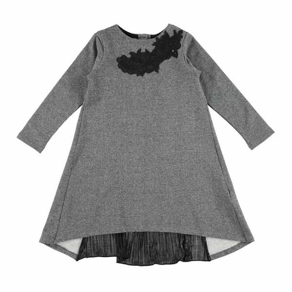 Φόρεμα κοριτσιού γκρί με σχέδιο και κουμπιά στο πίσω μέρος Ido