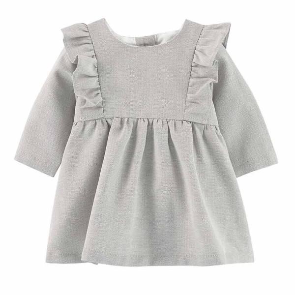 Φόρεμα κοριτσιού γκρί με σχέδιο και πιέτες Absorba