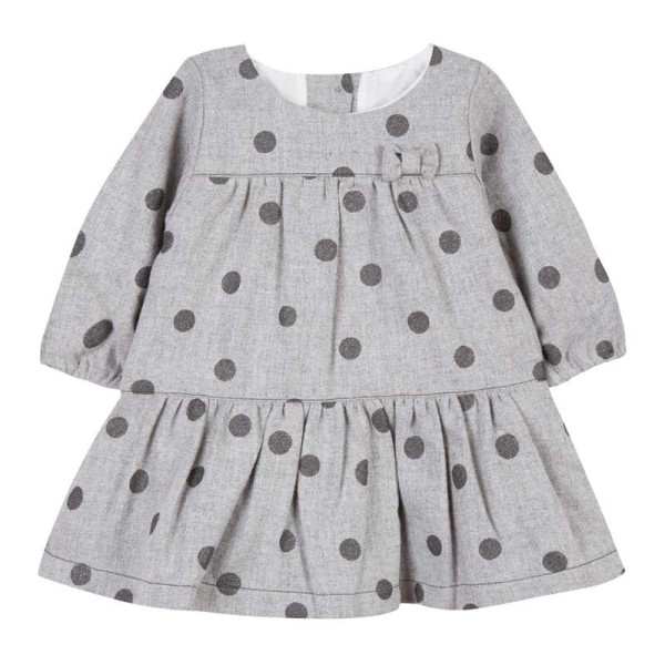 Φόρεμα κοριτσιού γκρί πουά με φιογκάκι στο στήθος Absorba