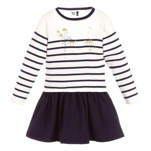 Φόρεμα κοριτσιού λευκό μπλέ Navy μακρυμάνικο 3Pommes