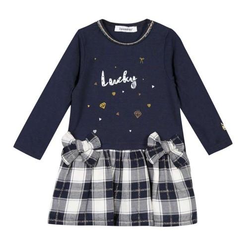 Φόρεμα κοριτσιού μπλέ με καρό φούστα και φιογκάκια 3Pommes