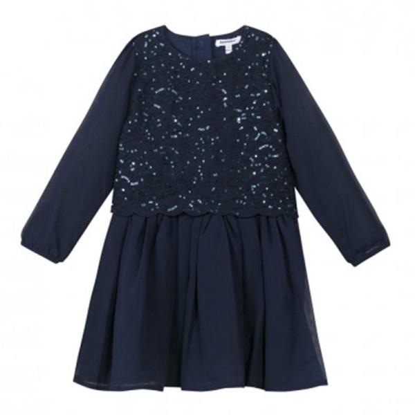 Φόρεμα κοριτσιού σκούρο μπλέ με πιέτες 3Pommes