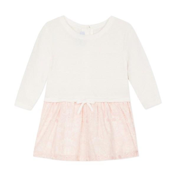Φόρεμα πλεκτό ροζ λευκό μακρύ μανίκι absorba