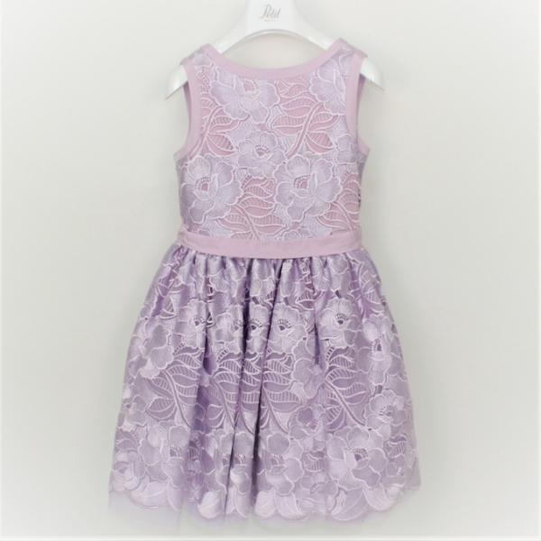 Φόρεμα λιλά δαντέλα γαλλική αμάνικο με ζώνη και φερμουάρ κορίτσι petit