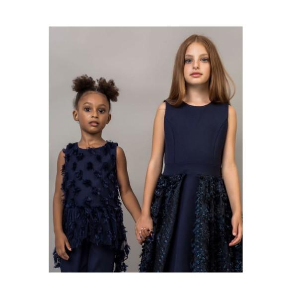 Φόρεμα μπλε αμάνικο με φερμουάρ κορίτσι coconudina