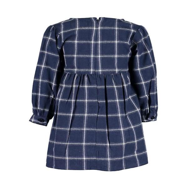 Φόρεμα μπλε καρό υφασματινο μακρύ μανίκι κορίτσι blue seven