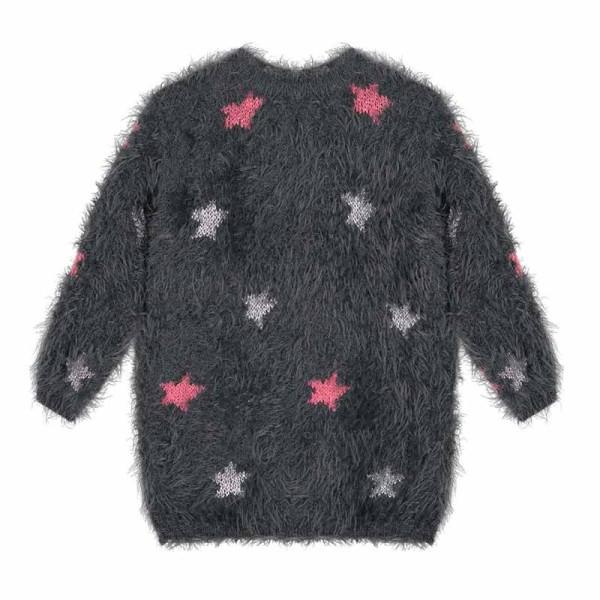 Φόρεμα μπλούζα κοριτσιού μαύρη χειμωνιάτικη με αστέρια 3Pommes