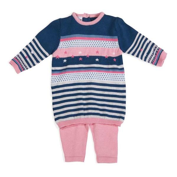 Φόρεμα μπλούζα κοριτσιού μπλέ ρόζ χειμωνιάτικη με σχέδιο 3Pommes