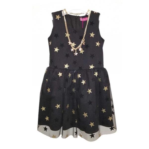 Φόρεμα για κοριτσάκι μαύρο με χρυσά αστεράκια Saah Chole
