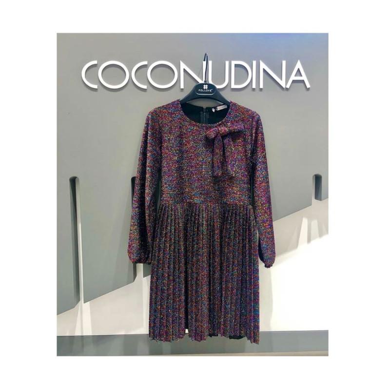 Φόρεμα πλισέ μακρύ μανίκι με ζώνη πολύ λαμπερό coconudina