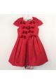 Φόρεμα κόκκινο ύφασμα χοντρό με φερμουάρ πίσω υψηλής ραπτικής κορίτσι petit