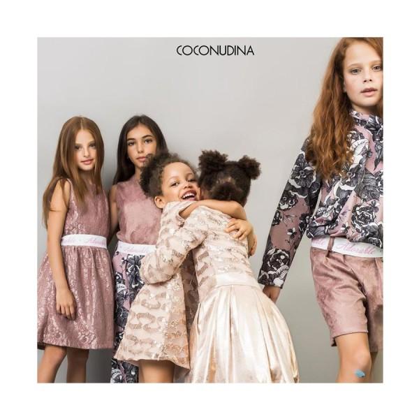 Φόρεμα σάπιο μήλο ροζ δαντέλα αμάνικο με φερμουάρ ζώνη κορίτσι coconudina