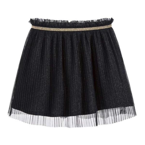 Φούστα κοριτσιού μαύρη με πιέτες,τούλι και λάστιχο στη μέση 3Pommes