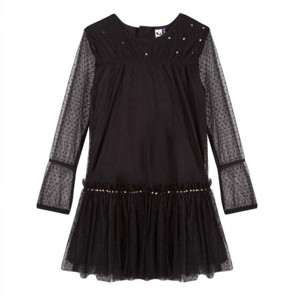 Φόρεμα κοριτσιού μαύρο με διαφάνεια τύπου Charleston 3Pommes