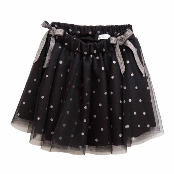 Φούστα κοριτσιού σε μαύρο χρώμα - πουά κύκλους με δύο φιόγκους ασημί στο λάστιχο - Two in a Castle