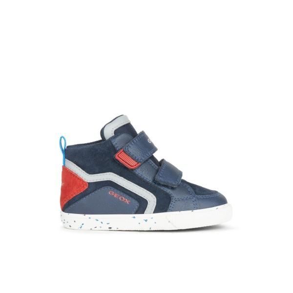 Παπούτσι αγοριού μποτάκι της εταιριας Geox κόκκινο/μπλε B04A7C 022ME C0735