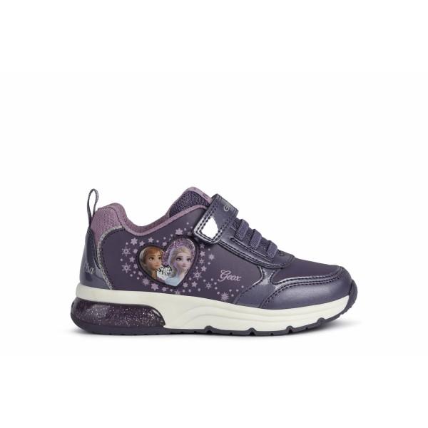 Παπούτσι κοριτσιού σε μωβ χρώμα sneakers σχέδιο Frozen της εταιριας Geox J168VB 0BCKN C8406