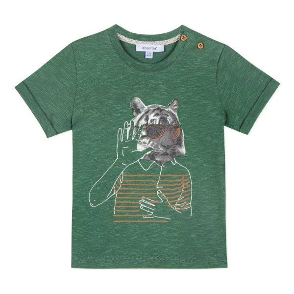 Μπλούζα μακό πράσινη με σχέδιο αγόρι Absorba