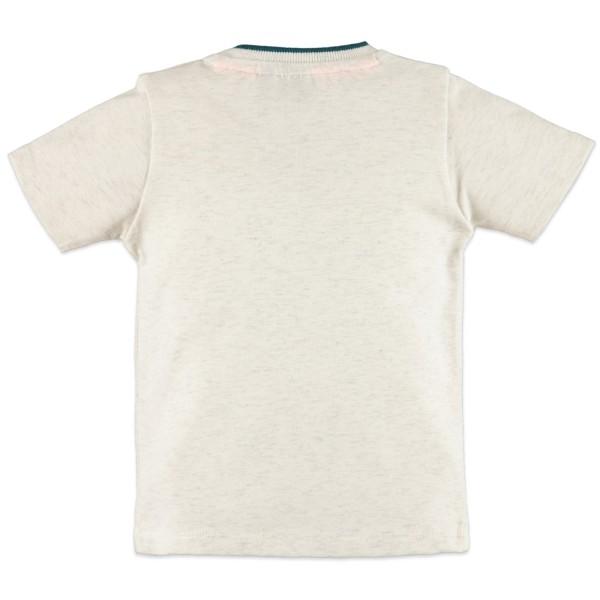 Μπλούζα μακό εκ ρου λευκό με σχέδιο πετρολ αγόρι Babyface