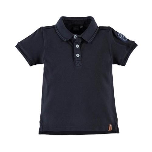Μπλούζα αγοριού σε μπλε σκούρο χρώμα με γιακά και κοντό μανίκι Babyface t-shirt - INK