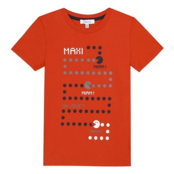 Μπλούζα μακό κόκκινη με στάμπα αγόρι κοντό μανίκι absorba