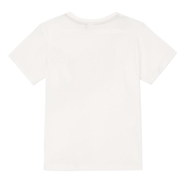 Μπλούζα μακό λευκό χρώμα με τύπωμα γρι χακί κοντό μανίκι αγόρι 3pommes
