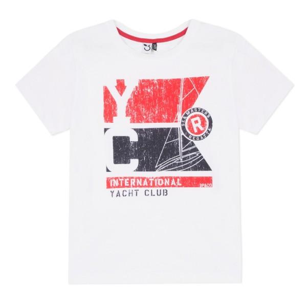 Μπλούζα μακό κοντό μανίκι  με τύπωμα λευκό κόκκινο αγόρι 3pommes