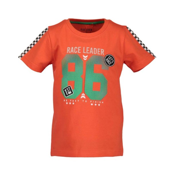 Μπλούζα μακό πορτοκαλί με τύπωμα πράσινα γράμματα αγόρι Blue seven
