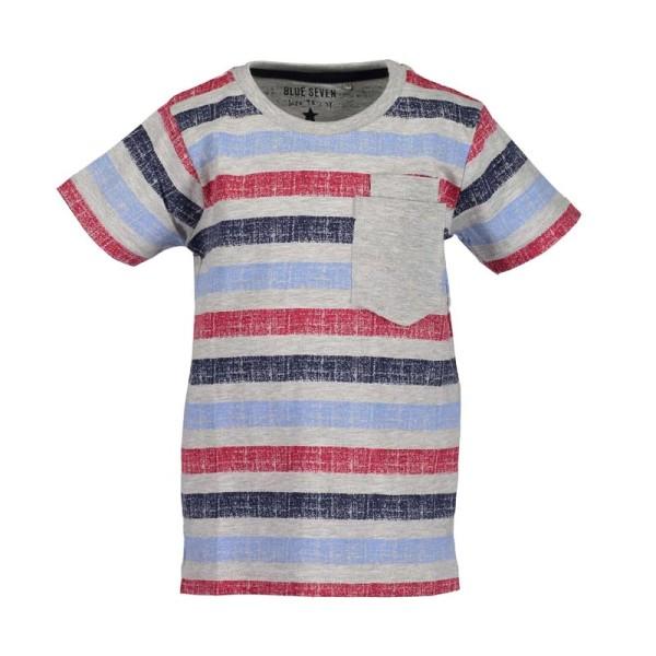Μπλούζα μακό ριγέ με τσέπη γρι μπλε κόκκινο αγόρι Blue seven
